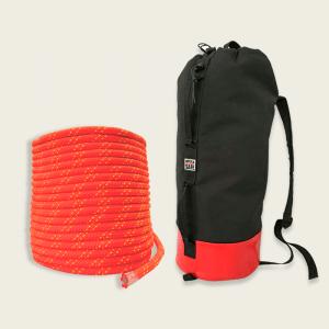 kit 100 metros de corda semi estatica e bolsa de corda